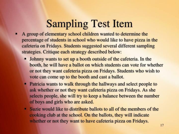 Sampling Test Item