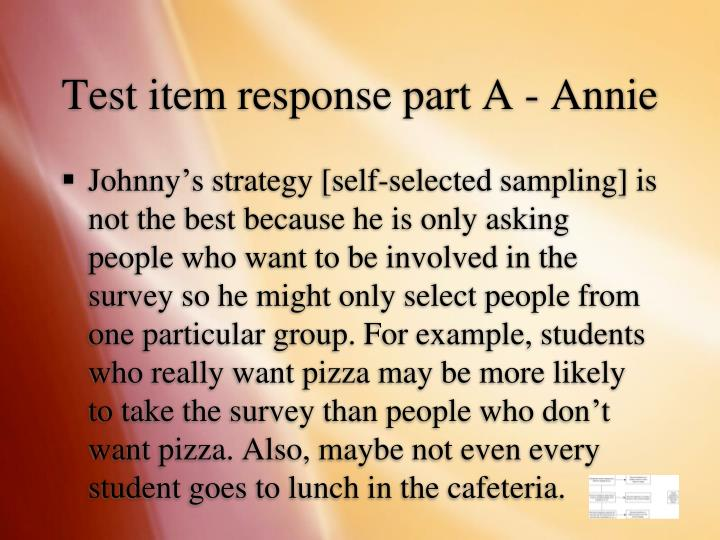 Test item response part A - Annie