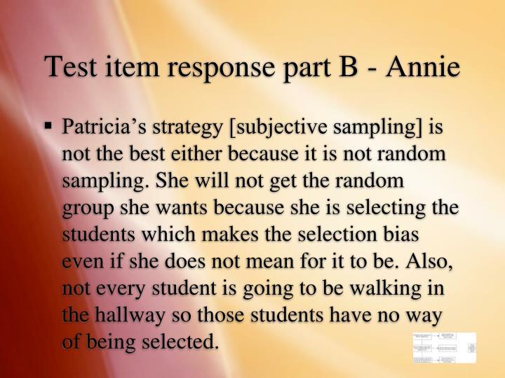 Test item response part B - Annie