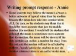 writing prompt response annie