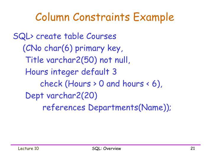 Column Constraints Example