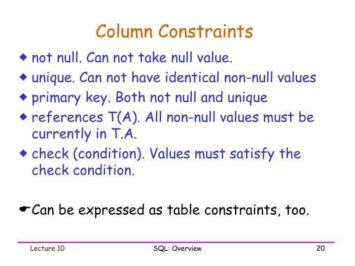 Column Constraints
