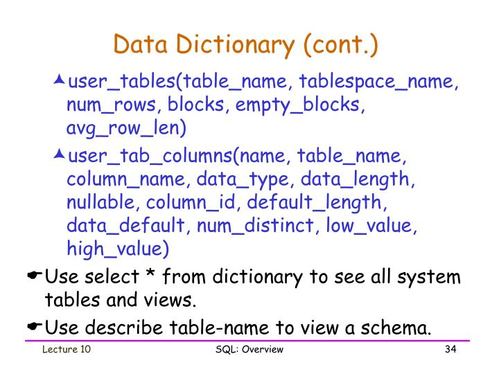 Data Dictionary (cont.)