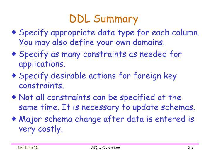 DDL Summary