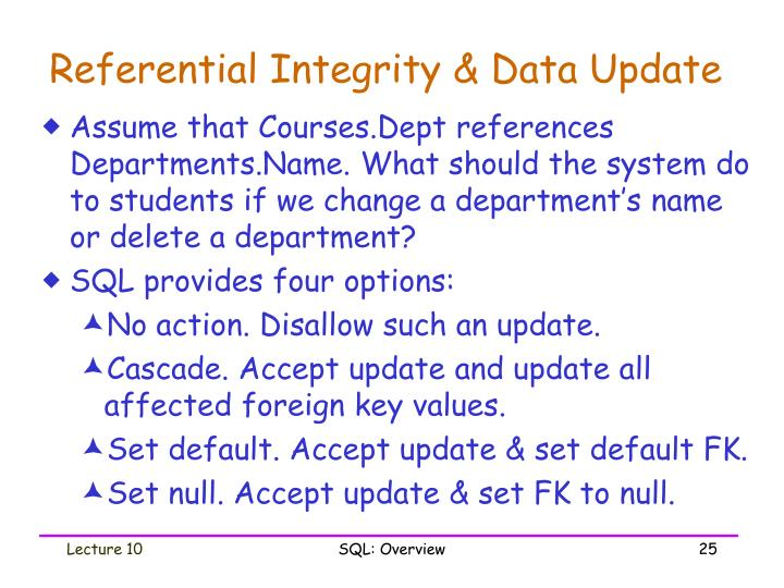 Referential Integrity & Data Update