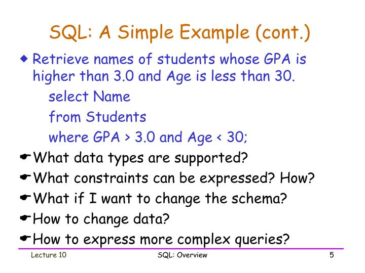 SQL: A Simple Example (cont.)