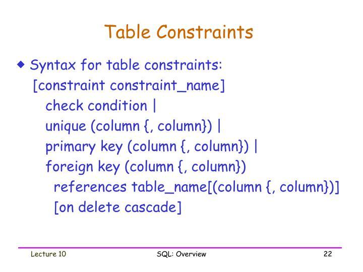 Table Constraints