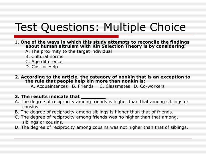 Test Questions: Multiple Choice