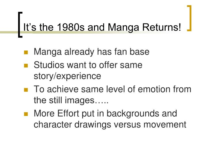It's the 1980s and Manga Returns!