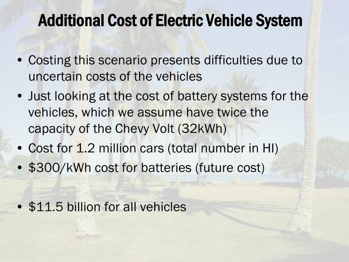 Additional Cost of Electric Vehicle System