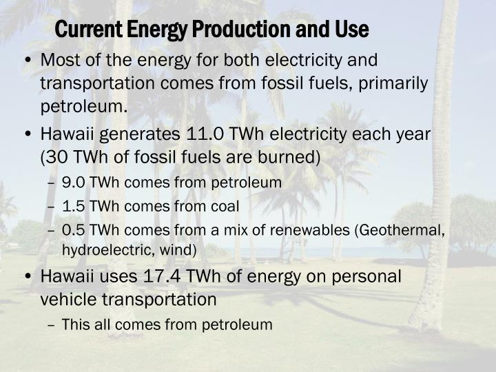 Current energy production and use