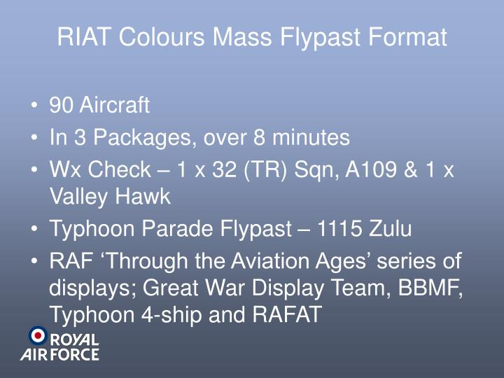 RIAT Colours Mass Flypast Format