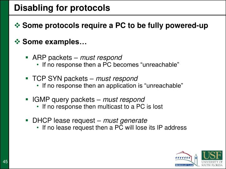 Disabling for protocols