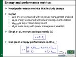 energy and performance metrics