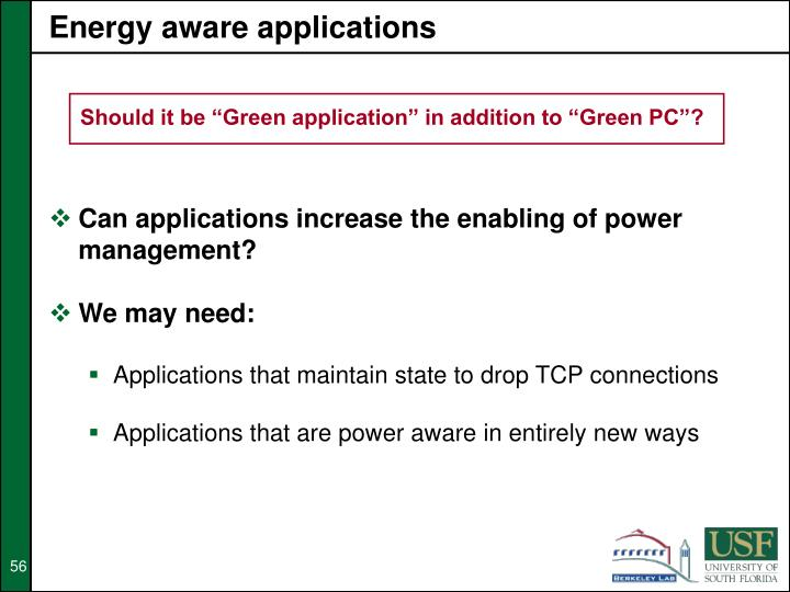 Energy aware applications