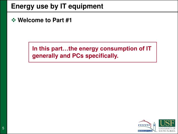 Energy use by IT equipment