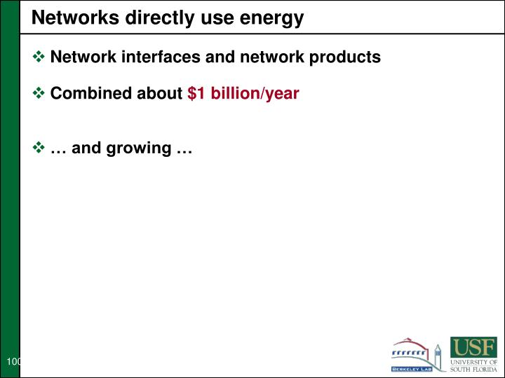 Networks directly use energy