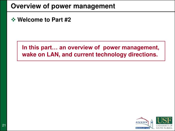 Overview of power management