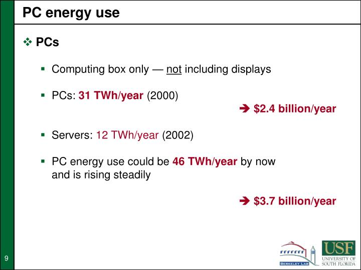 PC energy use