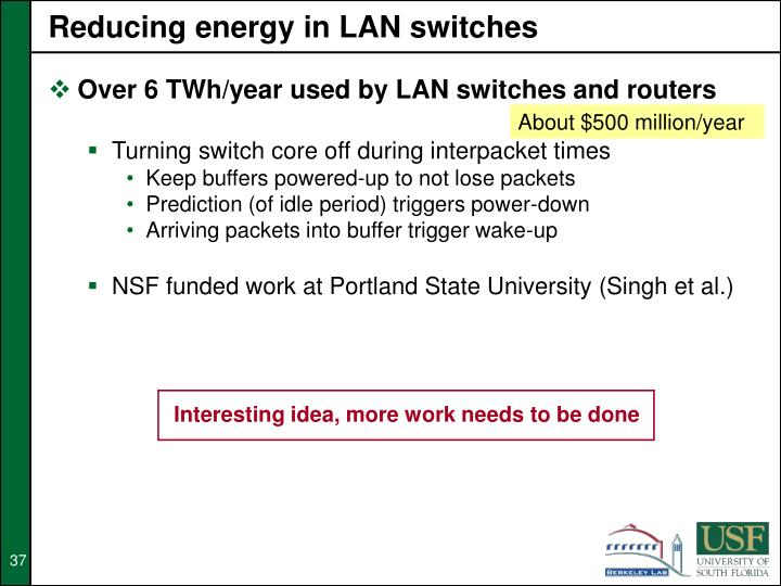 Reducing energy in LAN switches