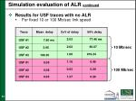 simulation evaluation of alr continued2