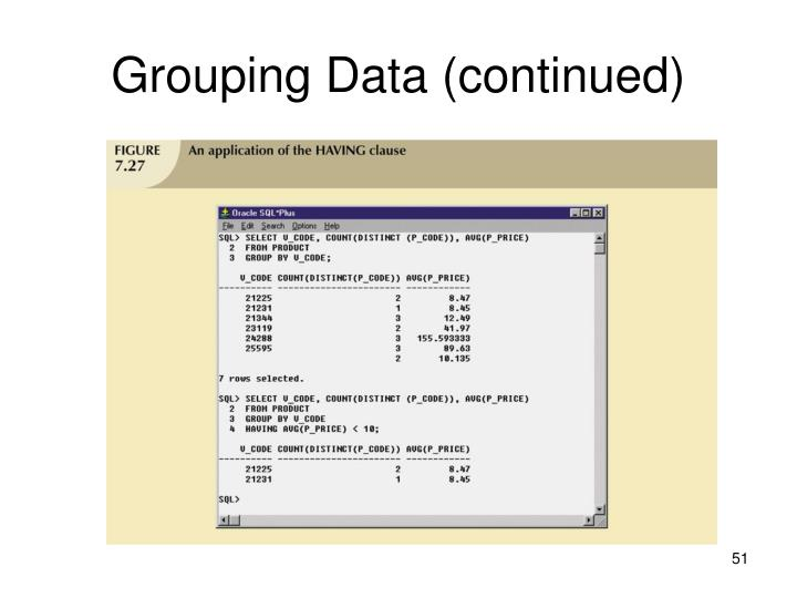 Grouping Data (continued)