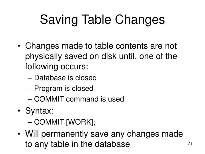 Saving Table Changes