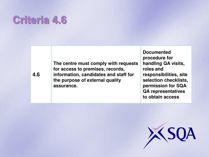Criteria 4.6