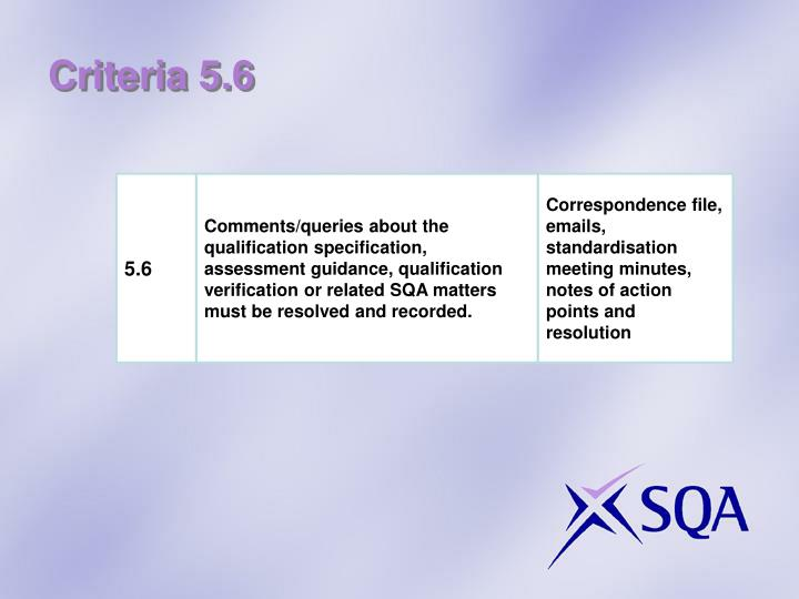 Criteria 5.6