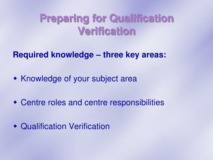 Preparing for Qualification Verification