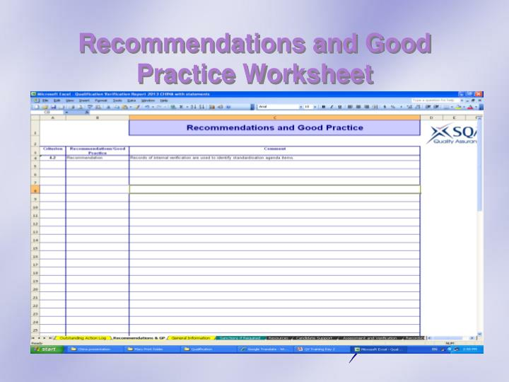 Recommendations and Good Practice Worksheet