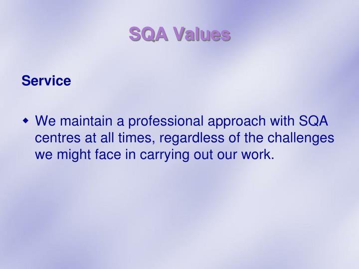 SQA Values