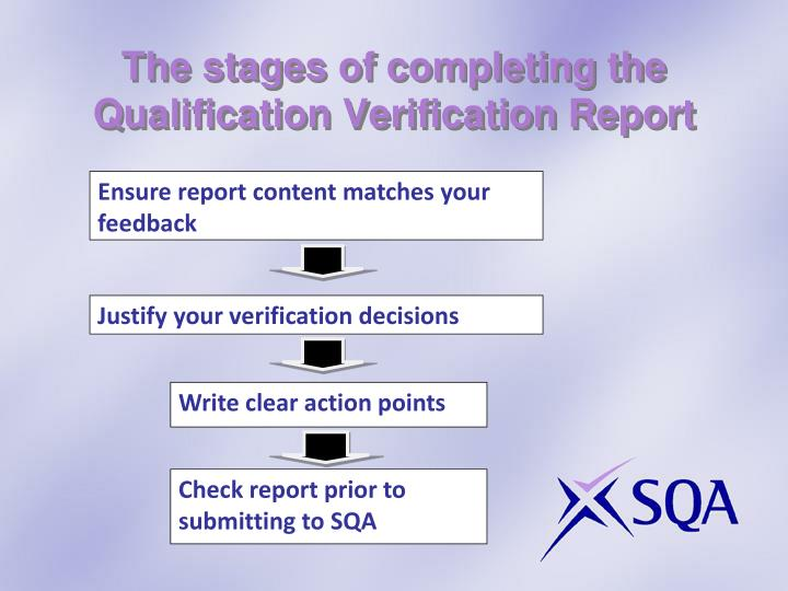 The stages of completing the Qualification Verification Report