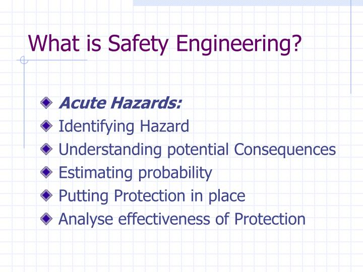 What is safety engineering