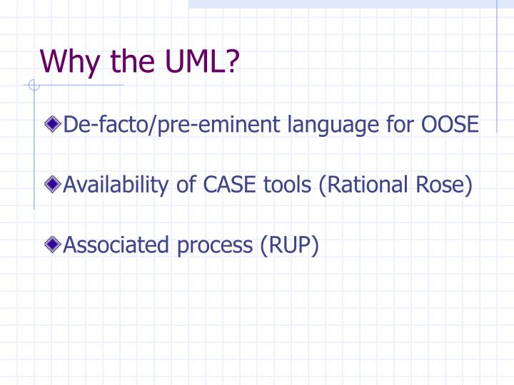 Why the UML?
