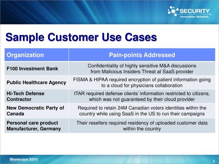 Sample Customer Use Cases