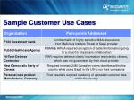 sample customer use cases