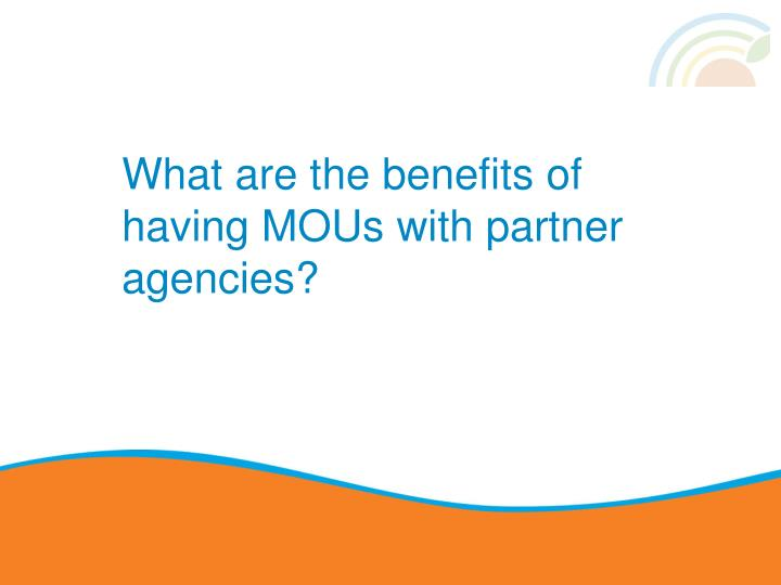 What are the benefits of having MOUs with partner agencies?