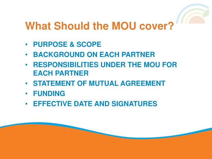 What Should the MOU cover?