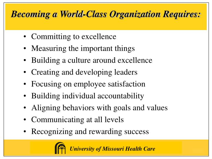 Becoming a World-Class Organization Requires: