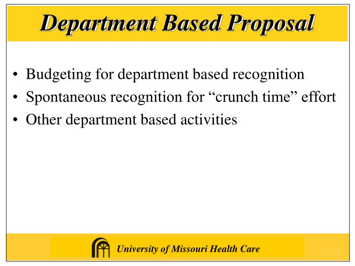 Department Based Proposal