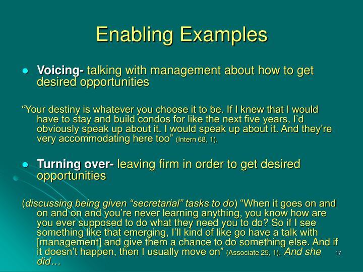 Enabling Examples