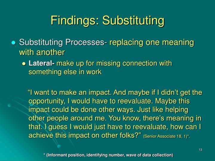 Findings: Substituting