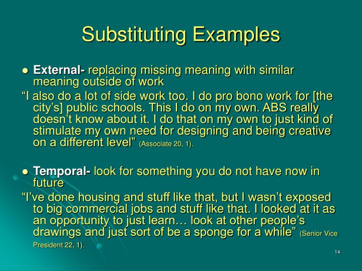 Substituting Examples