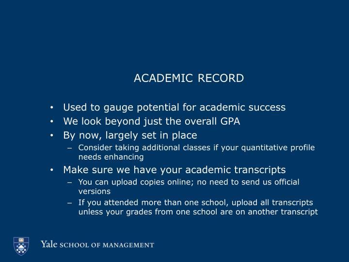 academic record