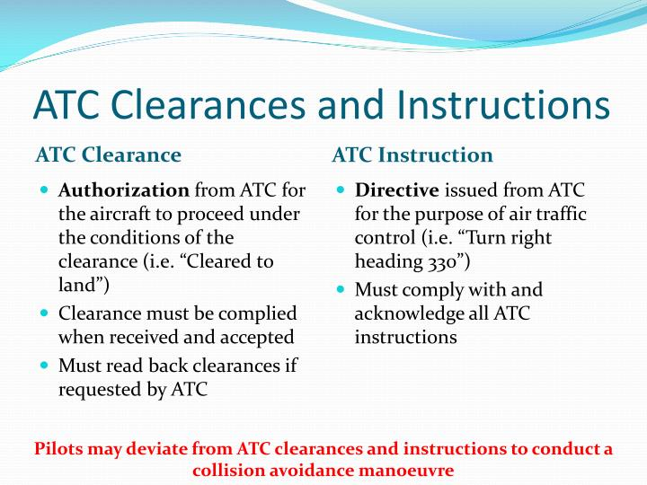 ATC Clearances and Instructions