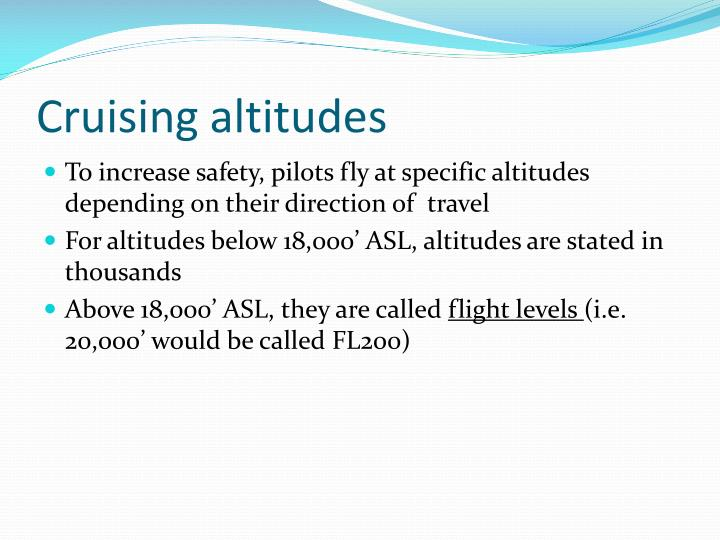 Cruising altitudes