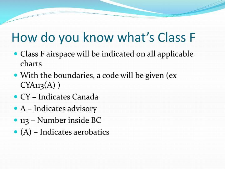 How do you know what's Class F
