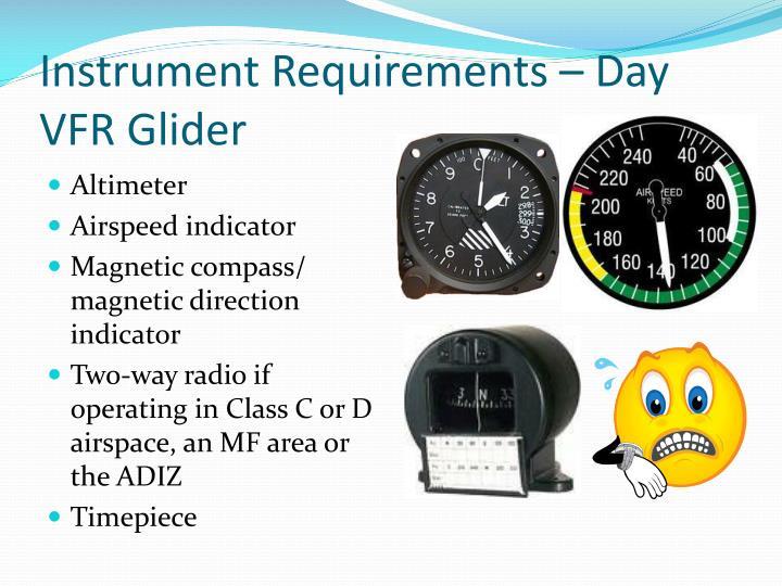 Instrument Requirements – Day VFR Glider