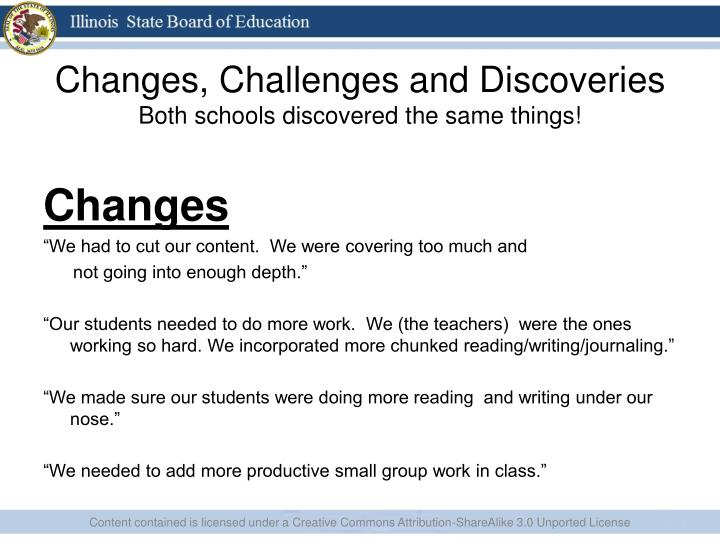 Changes, Challenges and Discoveries